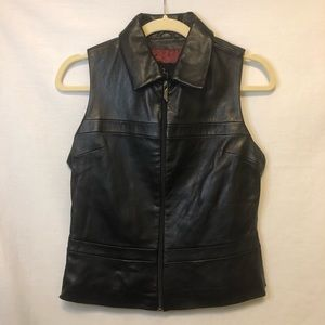 Venus Williams Wilson's Leather Vest Zip Up Black